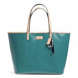 Coach Park Metro Mineral blue saffiano leather
